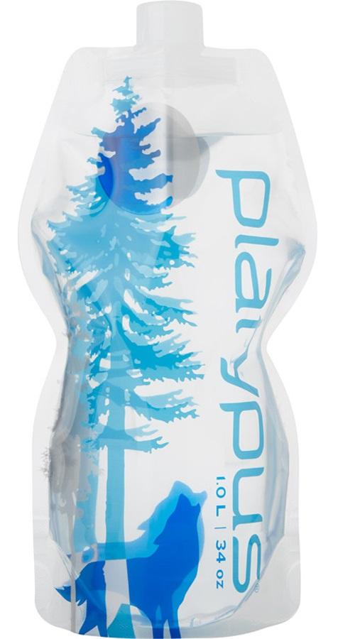 Platypus Softbottle Closure Cap Flexible Water Bottle, 1L Wild Blue