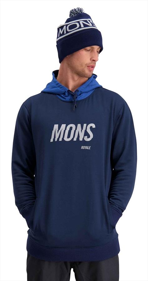 Mons Royale Decade Logo Hoody Merino DWR Midlayer L Navy/Deep Ocean