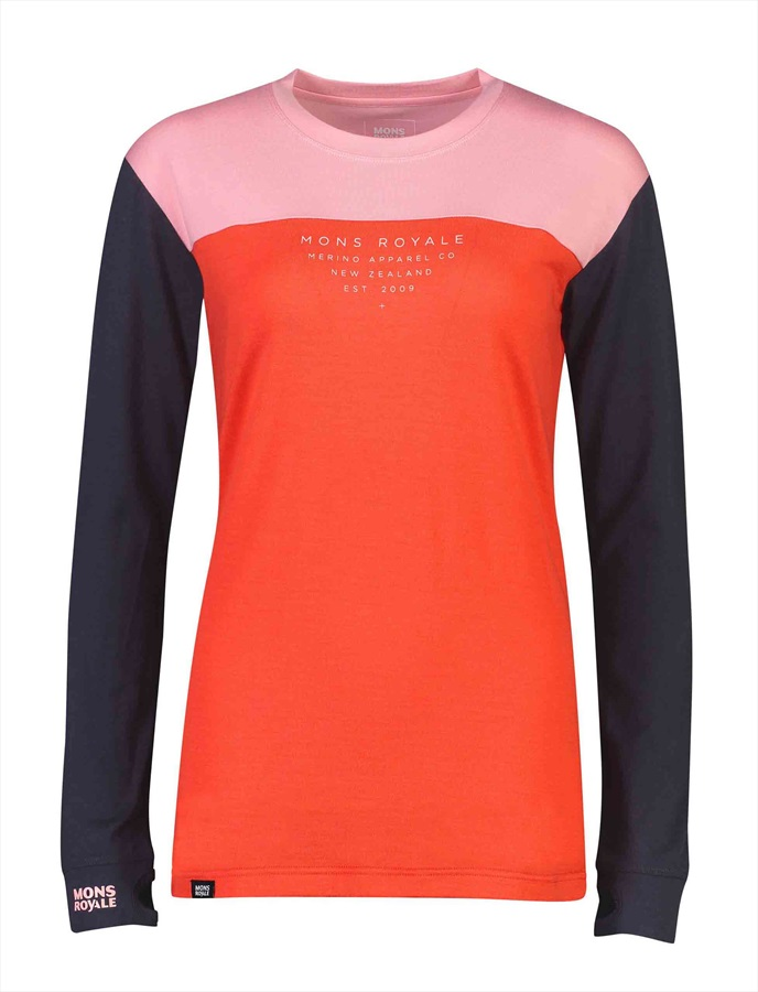 Mons Royale Yotei BF Tech LS Women's Merino Top M 9 Iron/Poppy/Rose