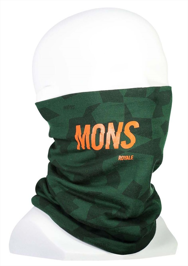 Mons Royale Double Up Merino Wool Neck Warmer Snood, Pine Camo