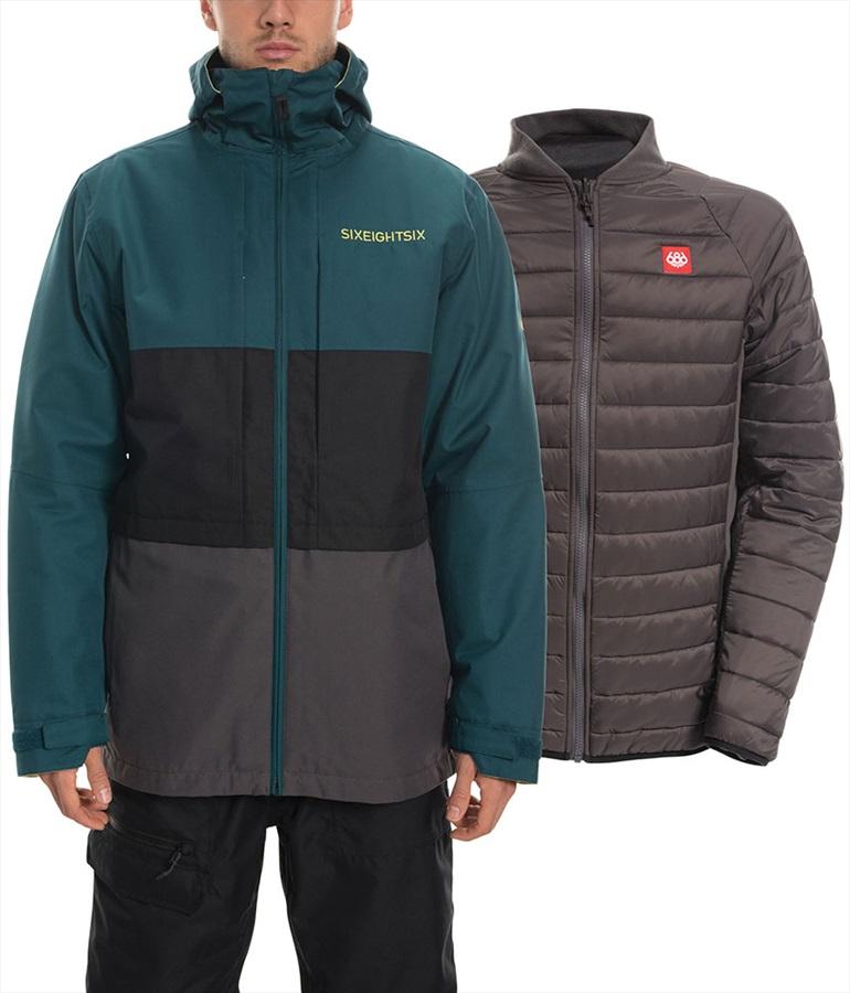 686 Smarty 3-in-1 Form Ski/Snowboard Jacket, M Deep Teal Colourblock
