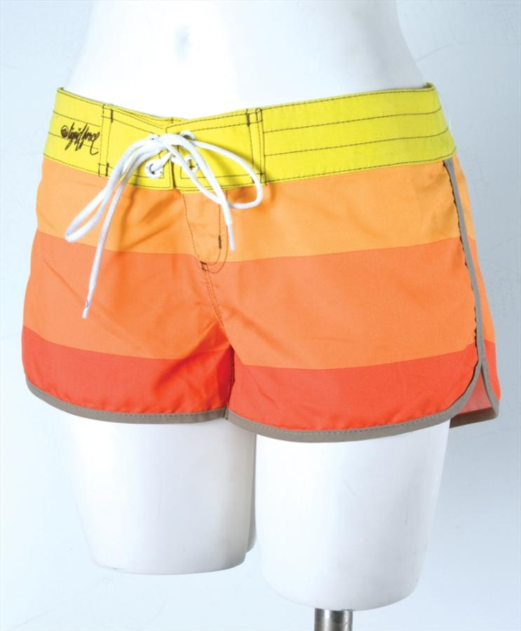 Liquid Force Candy Stripe Board Shorts, UK 8 US 4 Eur 36 Orange