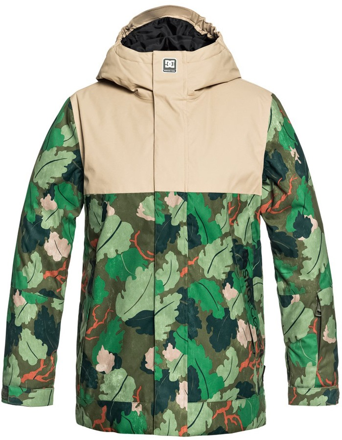 DC Defy Youth Kid's Ski/Snowboard Jacket, 12 Years Chive Leaf Camo