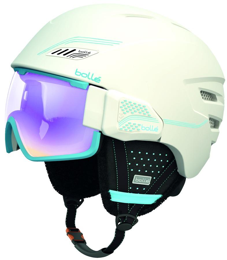 Bolle Osmoz Ski/Snowboard Visor Helmet, L, Soft White and Blue, Aurora