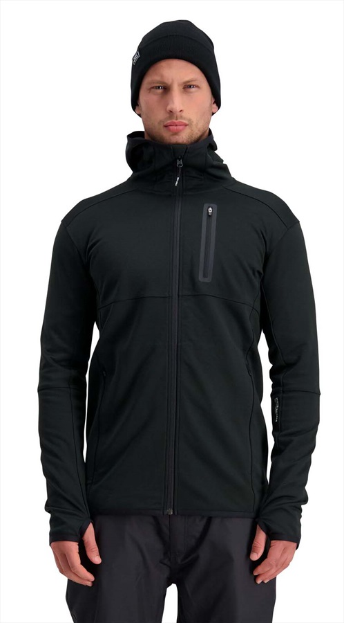 Mons Royale Approach Tech Mid Hoody, Merino Wool Midlayer L Black