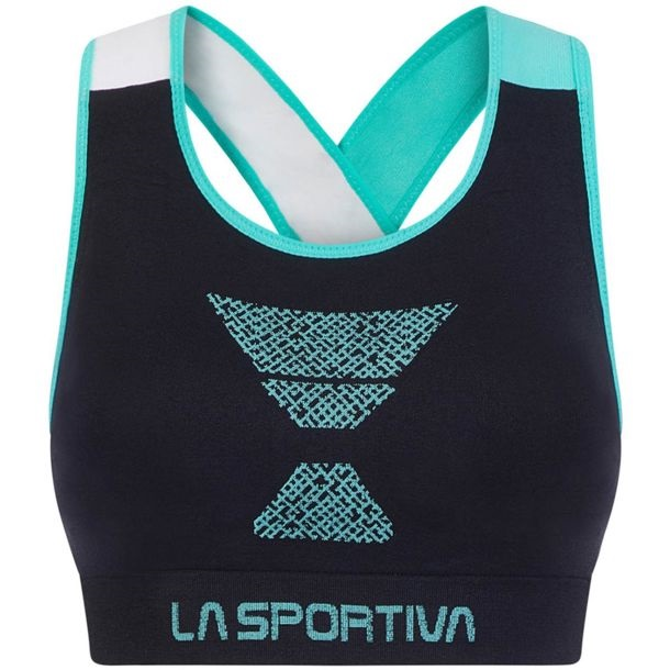 La Sportiva Womens Focus Top Sports Bra, L Black/ Aqua