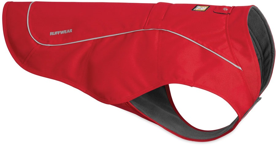 Ruffwear Dog Overcoat Fleece Lined Abrasion Resistant, L Red Currant