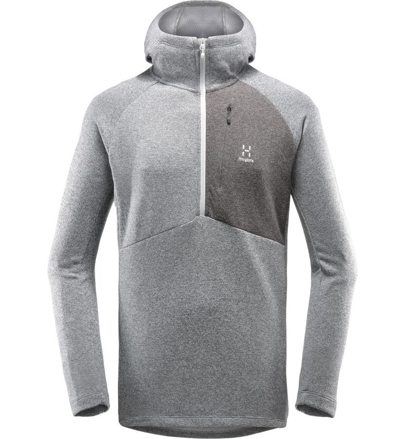 Haglofs Nimble Hooded Top Half Zip Lightweight Pullover L Grey Melange