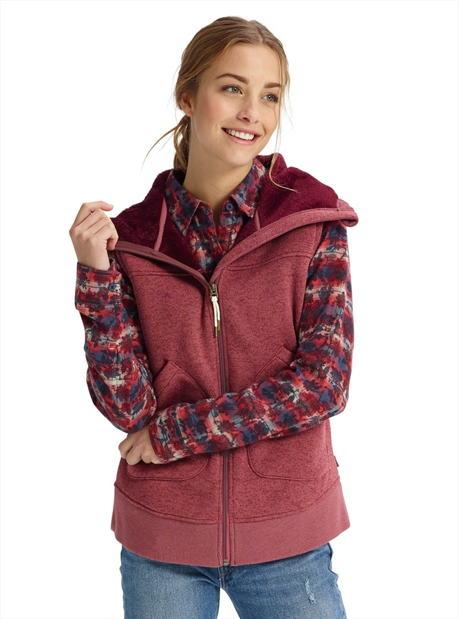 Burton Women's Minxy Full-Zip Hooded Gilet Vest, S Rose Brown Heather