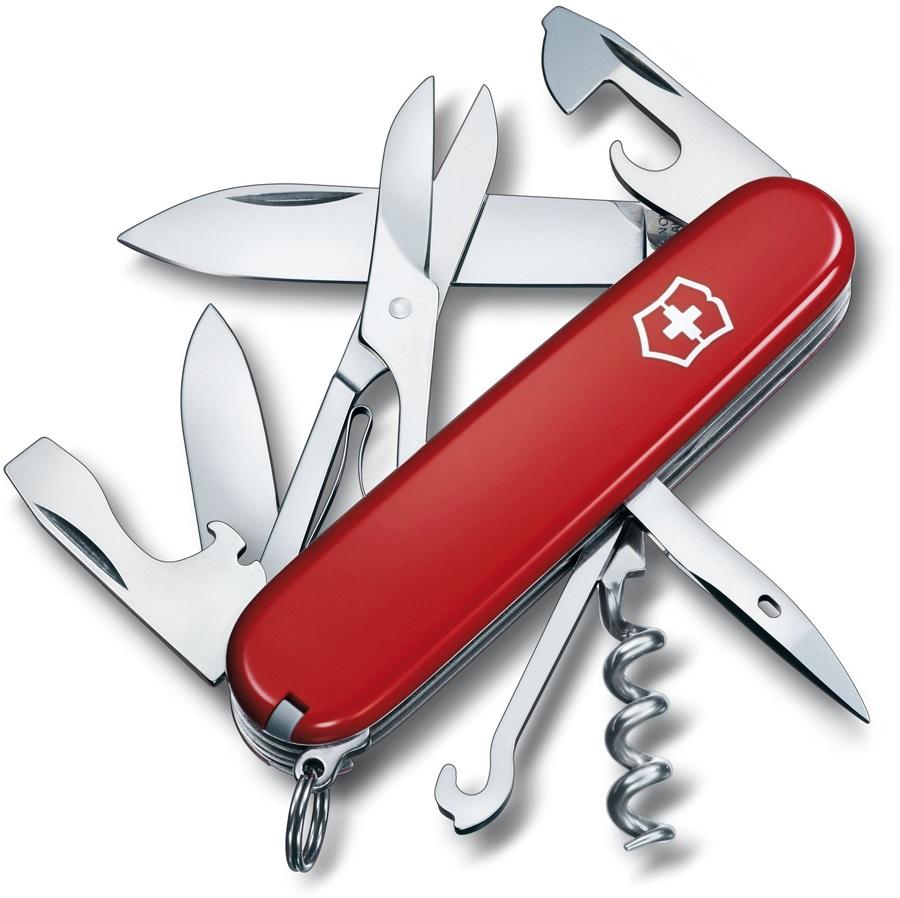 Victorinox Climber Swiss Army Penknife Pocket Multi Tool, 14 Tools Red