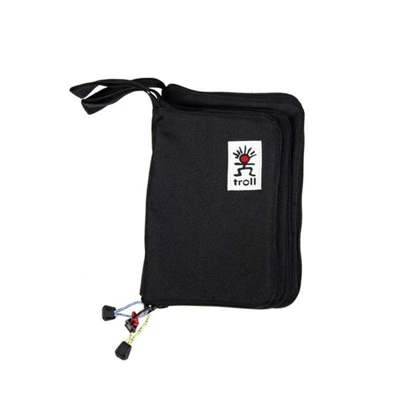 Troll Guide Book Cover Zippered Water Repellent Pouch, Medium Black