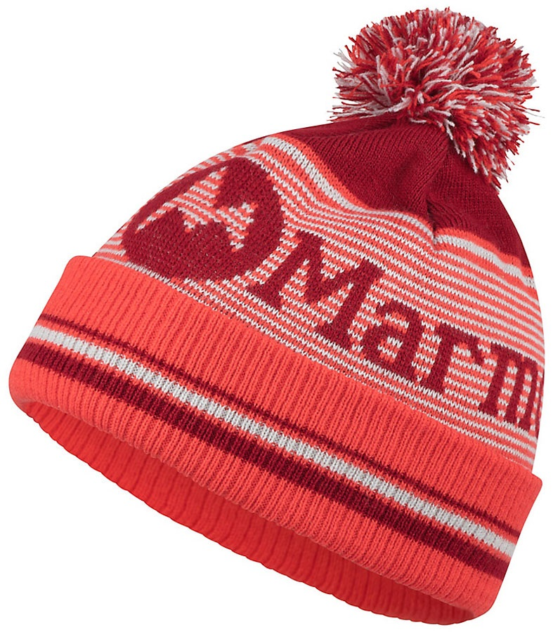 Marmot Womens Foxy Pom Beanie Bobble Hat, One Size Sienna Red