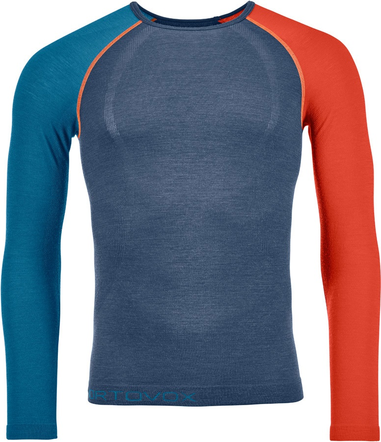 Ortovox Mens 120 Comp Light Long Sleeve Thermal Top, XL Night Blue