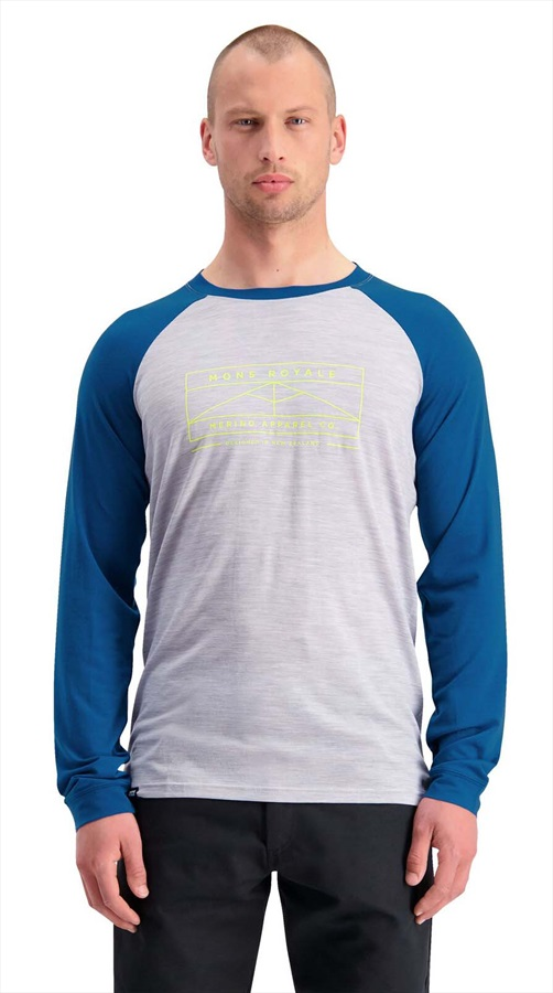 Mons Royale Icon Raglan Long Sleeve Merino Wool Top L Oily Blue/Grey