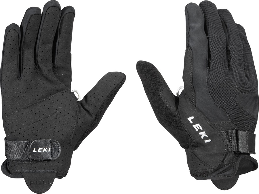 Leki Summer Shark Long Nordic Walking Pole Gloves, Large Black