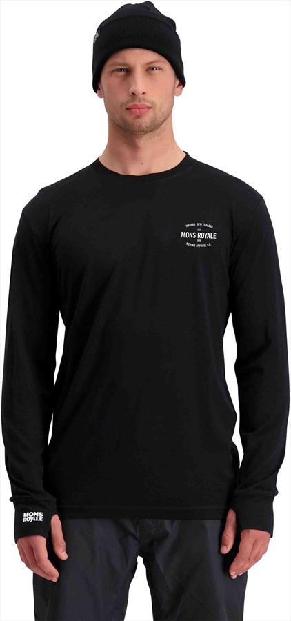 Mons Royale Yotei Tech Long Sleeve Merino Wool Top S Black