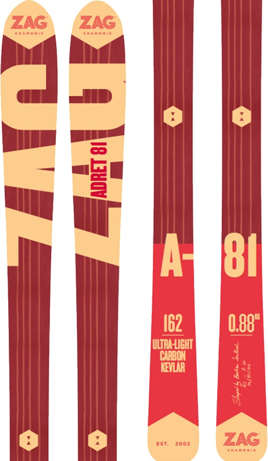 ZAG Adret 81 Skis & Skins, 170cm Red/Orange 2018