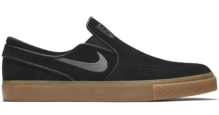 undefeated x official site quality products Nike SB Zoom Stefan Janoski Slip-On Men's Skate Shoes, 10.5 Black/Gum