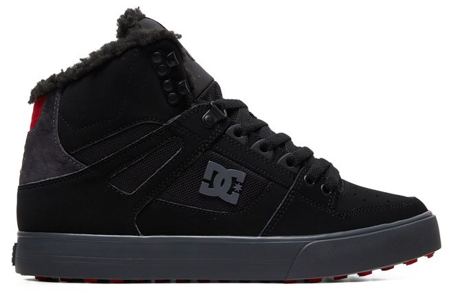 DC Pure High-Top WC WNT Men's Winter Shoes, UK 8.5 Black/Grey/Red