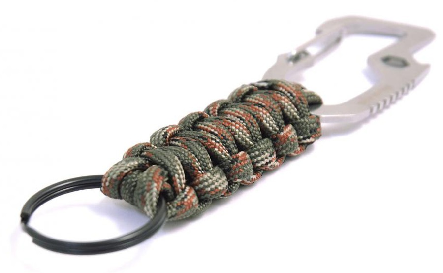 Munkees Multi-function Paracord Carabiner Keyring Green Camo