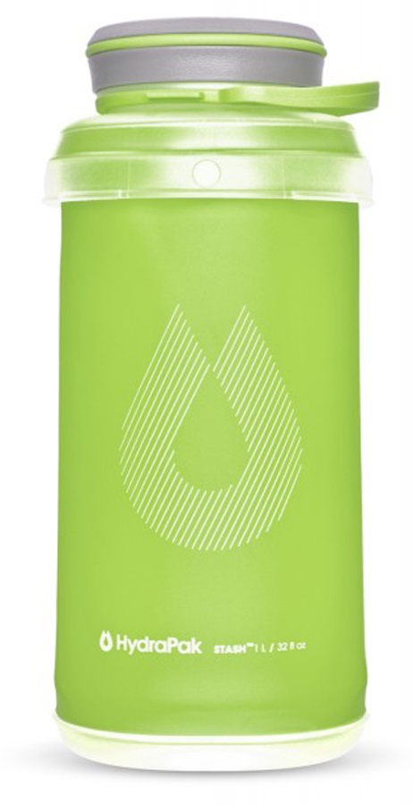 HydraPak Stash Bottle Collapsible Water Bottle, 1L Sequoia Green