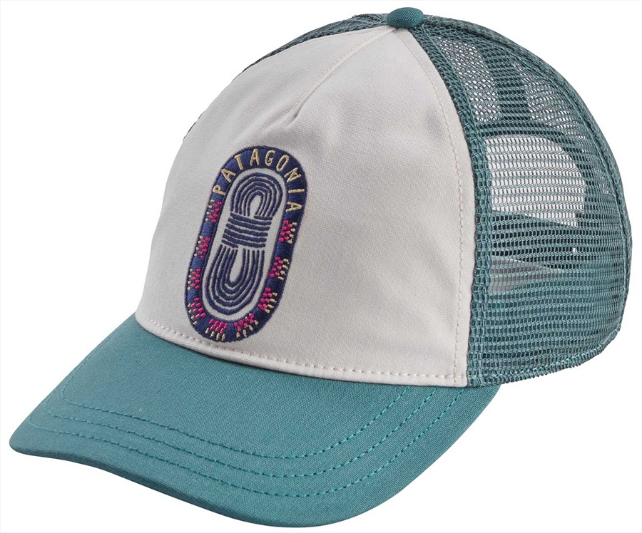 Patagonia Womens Paper Peaks Badge Layback Trucker Hat, OS White/Teal
