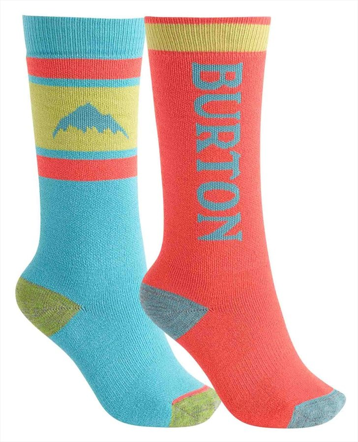 Burton Weekend Midweight 2PK Kid's Ski/Snowboard Socks, XS/S Blue