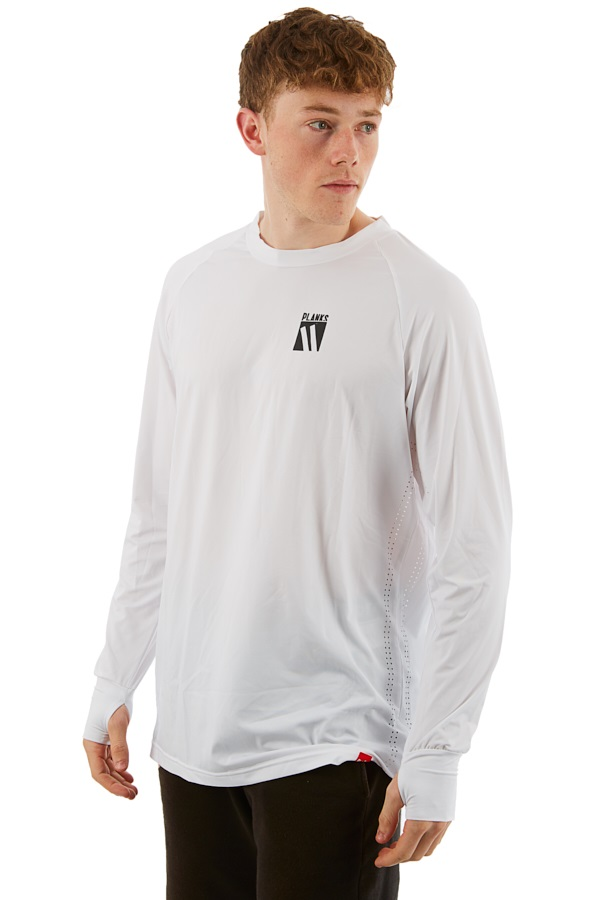 Planks Ride In Base Layer Thermal Top, XS White/Black