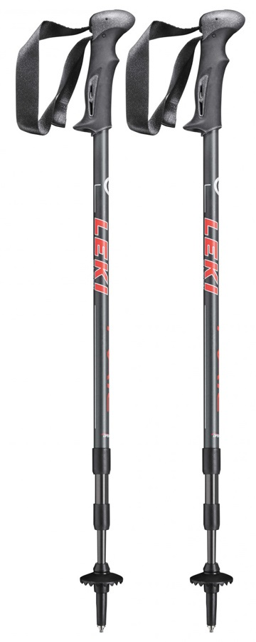 Leki Trail Adjustable Trekking Poles, 110-145cm Black/Red