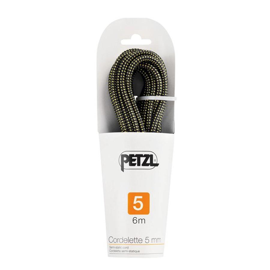 Petzl 5mm Cordelette Semi Static Rock Climbing Cord, 6m, Black/Yellow