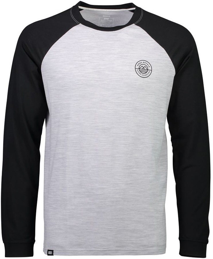 Mons Royale Icon Raglan Long Sleeve Merino Wool Top XL Black/Grey Marl