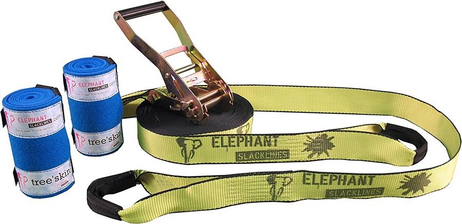 Elephant Slacklines Rookie Flash'line Slackline Set, 15m X 50mm Neon