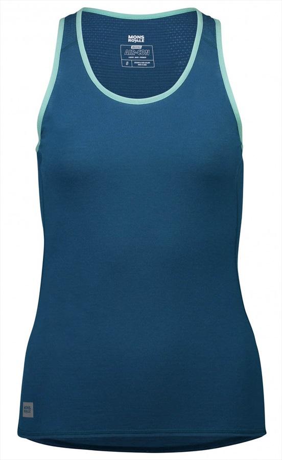 Mons Royale Bella Tech Vest Women's Merino Wool Tank Top, S Oily Blue