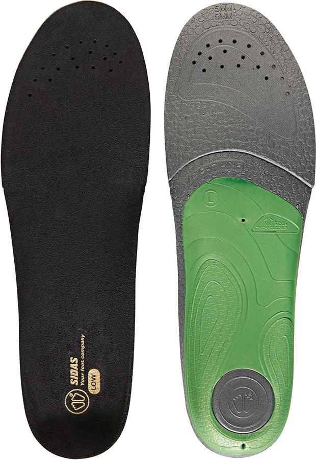 Sidas 3Feet Slim Low Boot/Shoe Insoles, S Black/Green