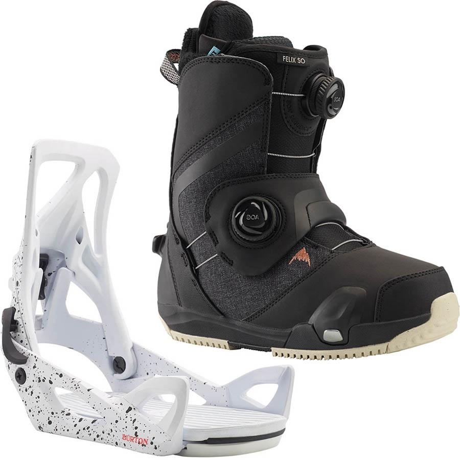 Burton Felix Step On Womens Snowboard Binding & Boots, UK 4.5 Splatter