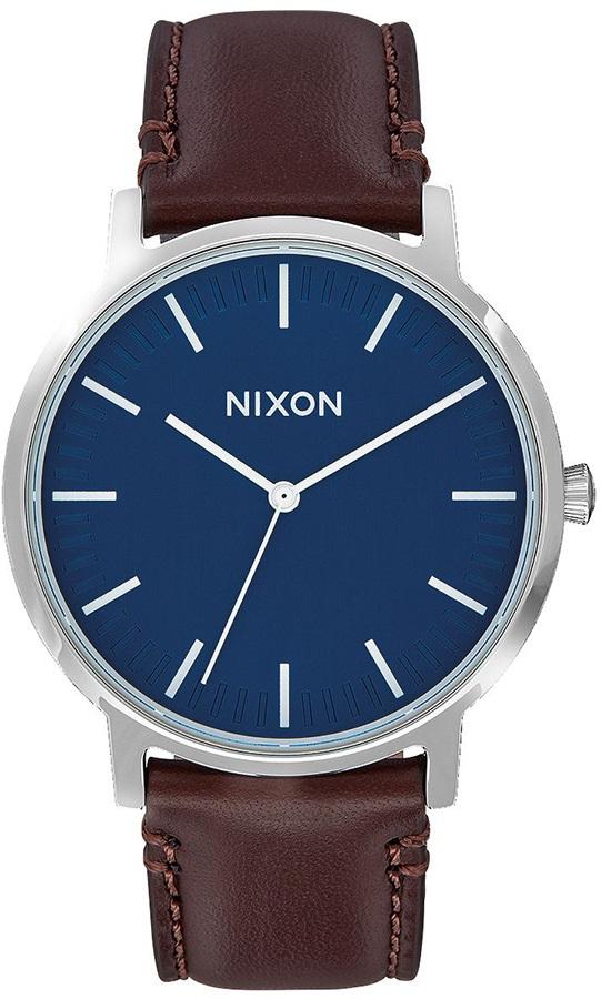 Nixon Porter 40 Leather Men's Wrist Watch Navy/Brown