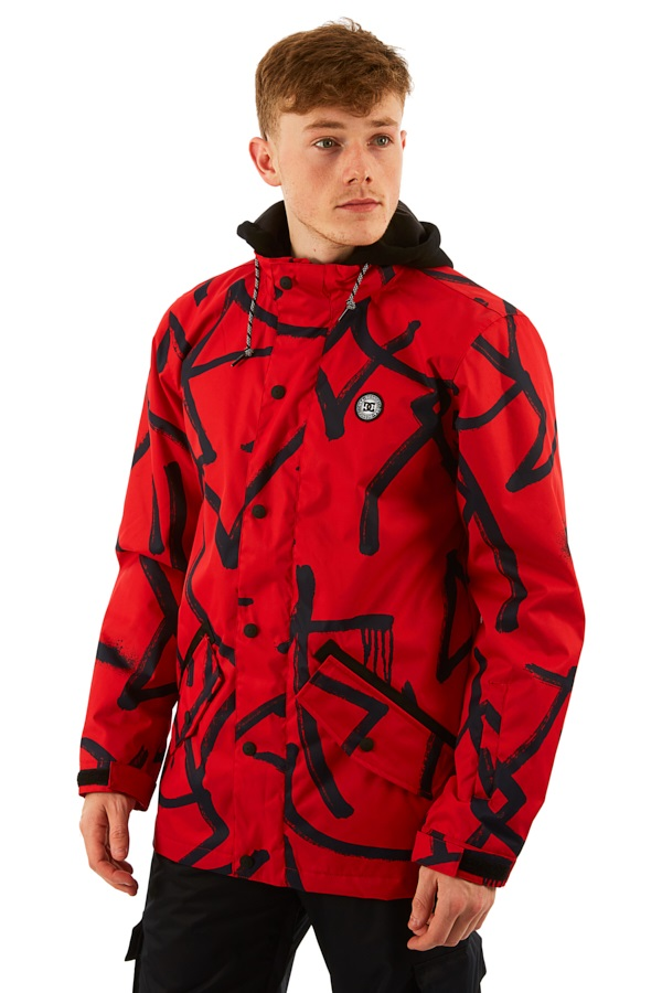 DC Union Ski/Snowboard Jacket, M Racing Red Hieroglyphic Print