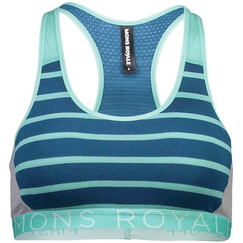Mons Royale Sierra Merino Wool Women's Sports Bra, M Oily Blue/Stripe