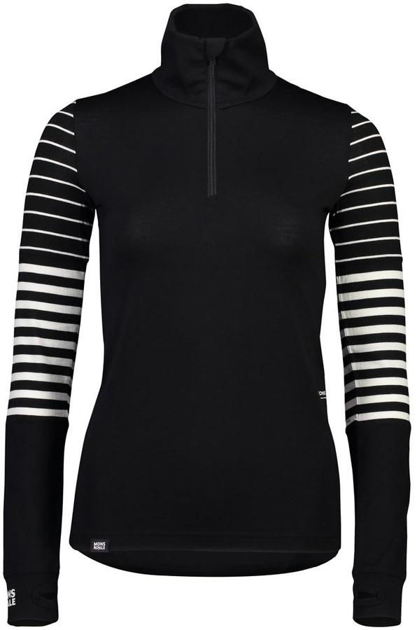 Mons Royale Cornice Half Zip Merino Thermal Top S Black/Stripe