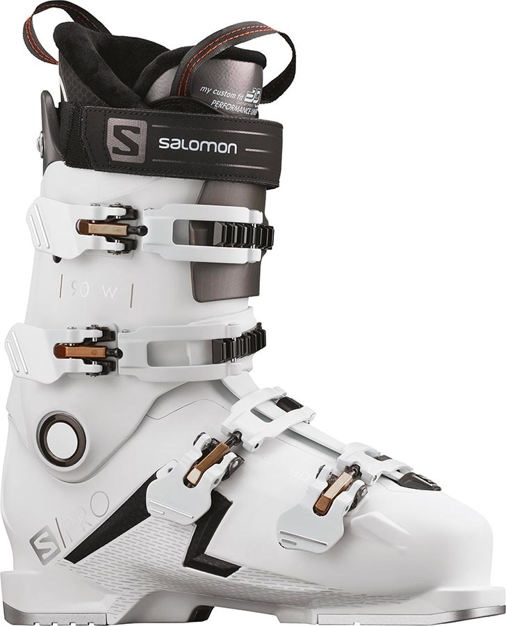 Salomon S/Pro 90 W Women's Ski Boots, 23/23.5 White/Black/Gold 2020