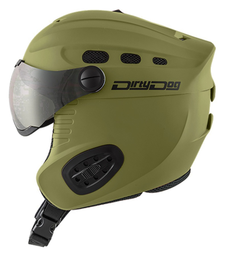 Dirty Dog Apache Silver Snowboard/Ski Visor Helmet, XL Matte Khaki