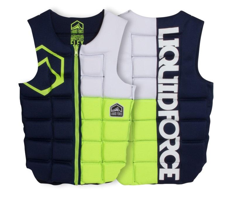 Liquid Force Flex Wakeboard Impact Vest, S Blue Grey Lime