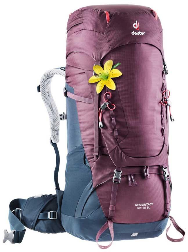Deuter Aircontact 50 + 10 SL Backpacking Rucksack, Blackberry/Navy
