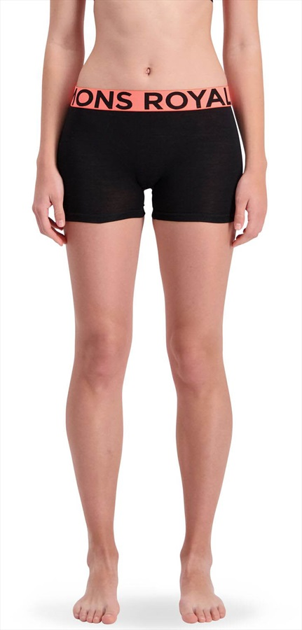 Mons Royale Hannah Hot Pants Women's Merino Underwear, XS Black/Coral