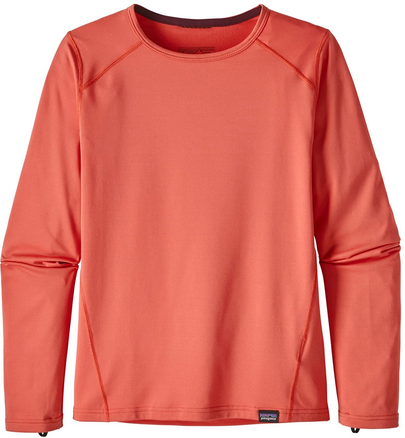 Patagonia Girls' Capilene Crew Long Sleeve Baselayer, XS Spiced Coral