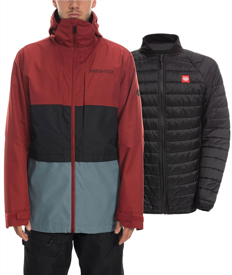 686 Smarty 3-in-1 Form Ski/Snowboard Jacket, M Rusty Red Colourblock