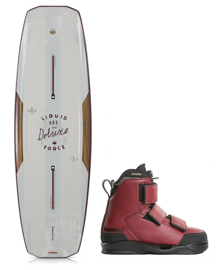 Liquid Force Deluxe | Hook Park Wakeboard Package, 144|10-11 Red Brown