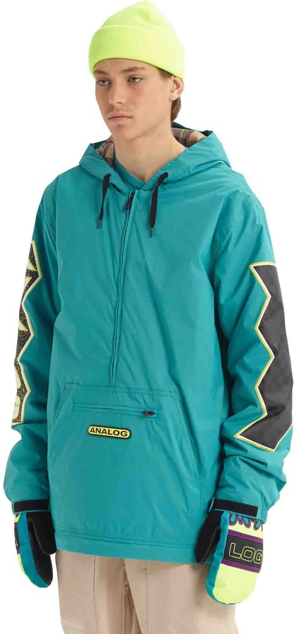 Analog Chainlink Anorak Ski/Snowboard Pullover Jacket, M Green-Blue