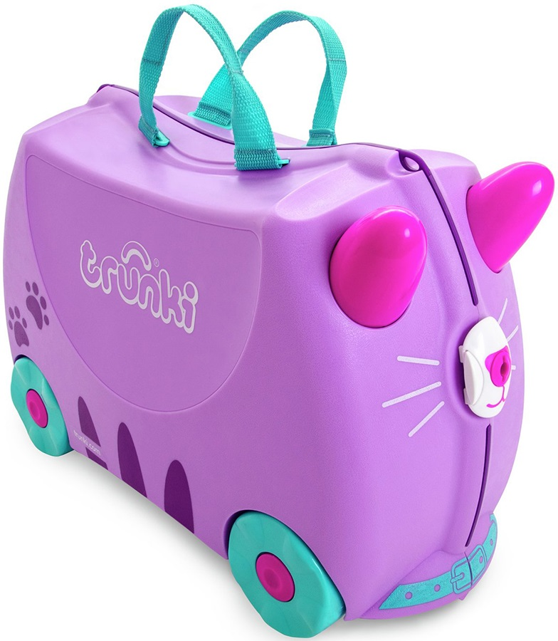 Trunki Cassie The Cat Kid's Wheeled Hand Luggage, 18L Purple