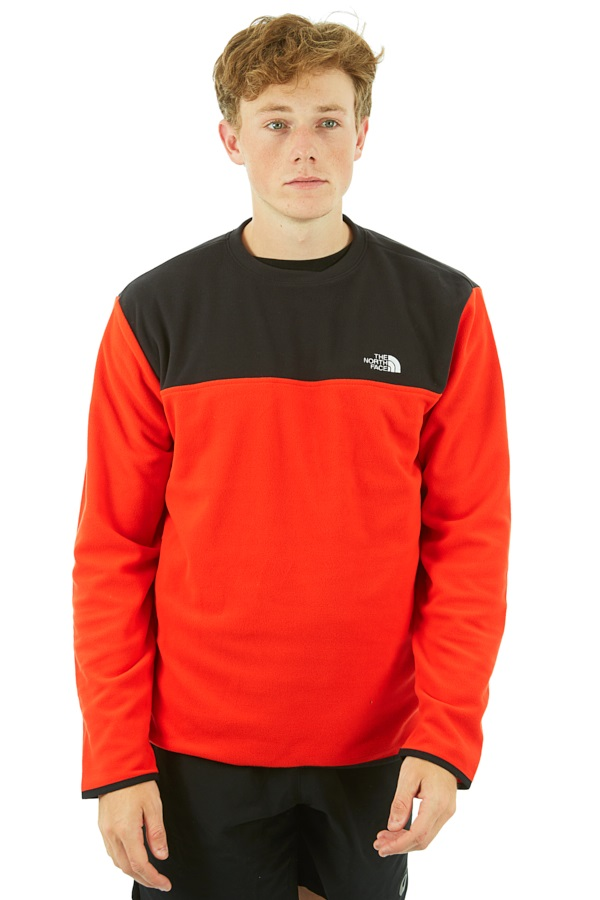 The North Face TKA Glacier Fleece Crew Pullover, S Fiery Red/Black